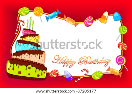 stock vector : illustration of happy birthday card with