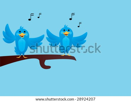 Illustration of happy blue birds singing on branch  stock vector