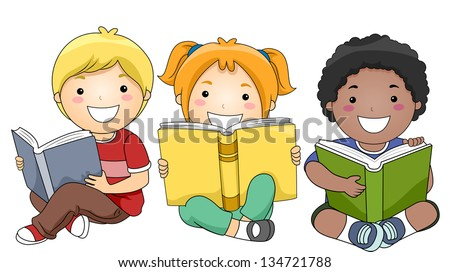Illustration of Happy Children Sitting while Reading Books