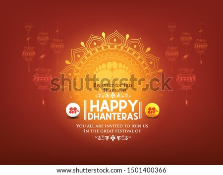 illustration of happy Dhanteras Gold coin in pot for Dhantera celebration
