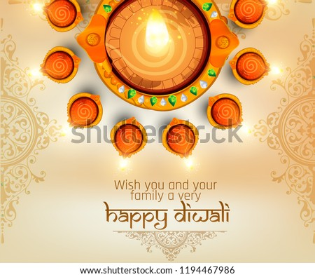 illustration of Happy Diwali, diwali big sale illuminated oil lamps on blurred glossy background for shubh Diwali or Deepawali