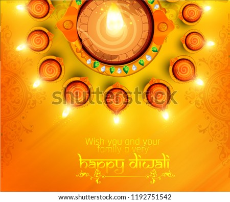 illustration of Happy Diwali, illuminated oil lamps on blurred glossy background for  shubh Diwali or Deepawali with creative illustration, greeting card design