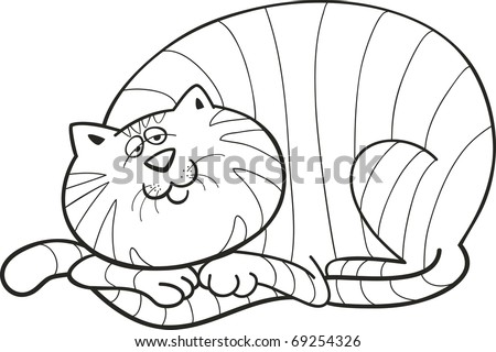 illustration of happy fat cat for coloring book