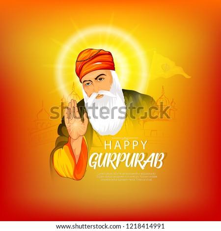 illustration of Happy Gurpurab, Guru Nanak Jayanti, Guru Nanak's Prakash Utsav, celebrates the birth of the first Sikh Guru