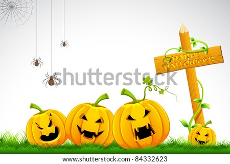 illustration of happy halloween card with pumpkin on grass