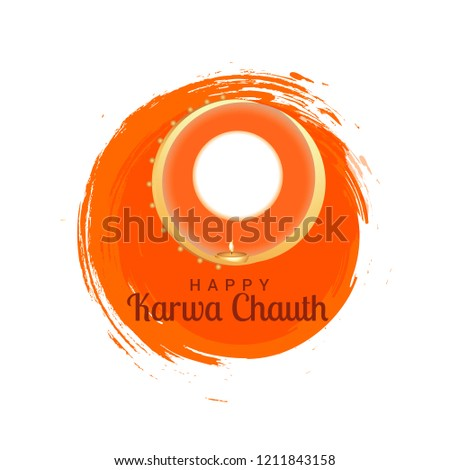 Illustration Of Happy Karwa Chauth Background.
