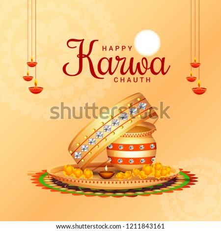 Illustration Of Happy Karwa Chauth Greeting Card Background With Decorated Puja Thali.