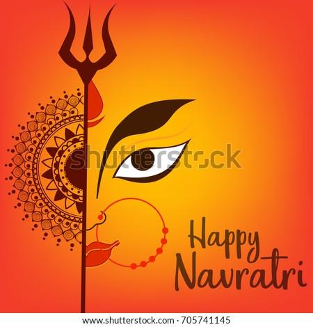 Illustration Of Happy Navratri Celebration Poster Or Banner Background. Stock photo ©