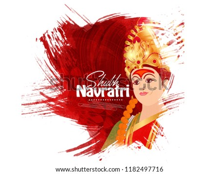 Illustration Of Happy Navratri greeting Card Design With Beautiful Maa Durga Face On Grunge background. - Shutterstock ID 1182497716