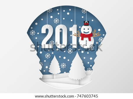 illustration of Happy new year 2018 winter season with snow man. paper art design and craft style.