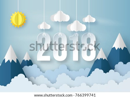 illustration of Happy new year 2018 with Origami made sun, cloud and mountain on blue sky background. paper art design and craft style.