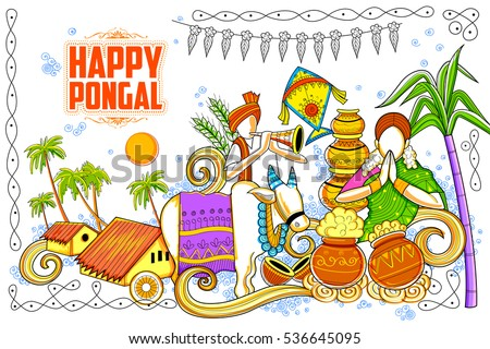 Vector illustration of happy pongal greeting background download illustration of happy pongal greeting background m4hsunfo