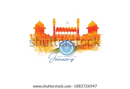 illustration of Happy Republic Day of India 26th January with Tricolor background red fort and indian monuments