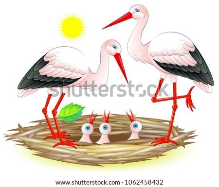 illustration of happy stork