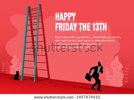 Illustration of Happy superstition, Friday with a businessman walking passed under the ladder and black cat behind Photo stock ©