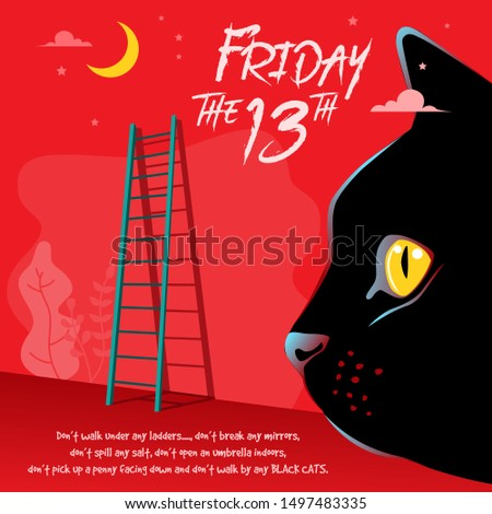 Illustration of Happy superstition, Friday with a cat face and ladder in the background Photo stock ©