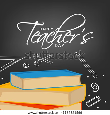 Illustration Of Happy Teachers Day Greeting Card.