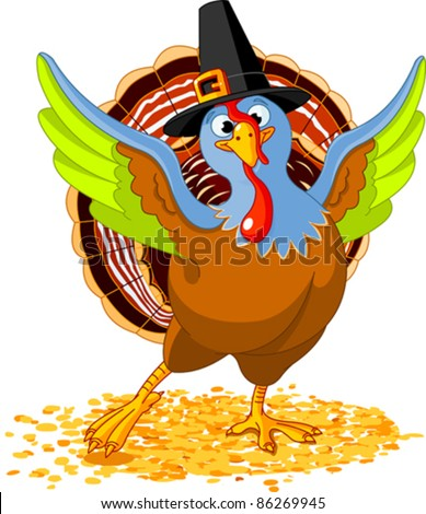 Illustration of Happy Thanksgiving Turkey