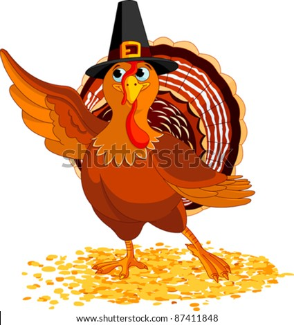 Illustration of Happy Thanksgiving Turkey presenting