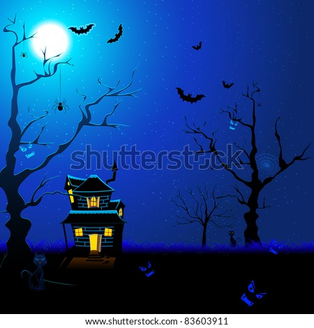 illustration of haunted house with flying bat and cat in scary night