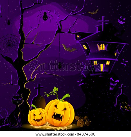 illustration of haunted house with halloween pumpkin in scary dark night