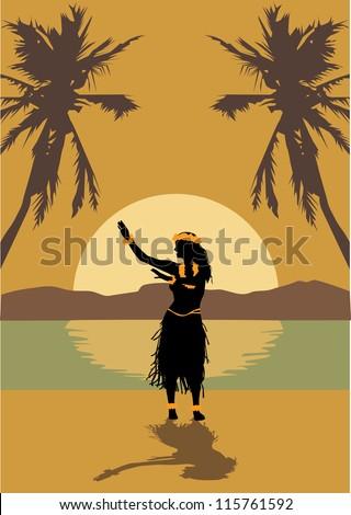 illustration of hawaii woman