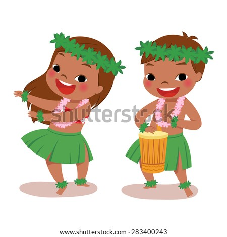 illustration of hawaiian boy