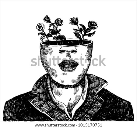 Illustration of Head With Roses