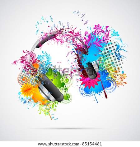 illustration of headphone with