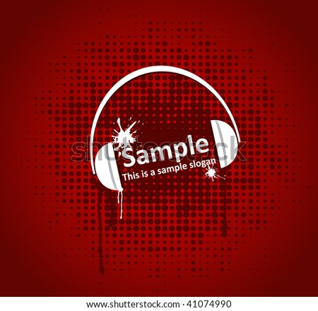 illustration of headphones on a red grunge background