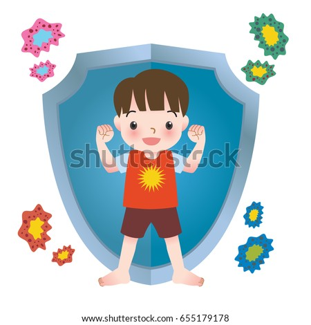 Illustration of healthy boy protected by a shield and immune from viruses and bacteria