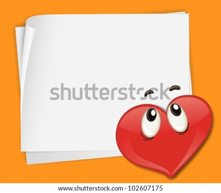 Illustration of heart on paper