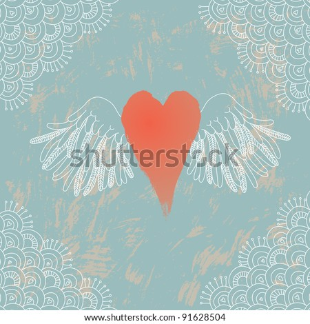 Illustration of heart with wings