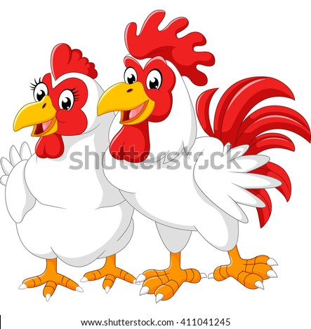 Illustration of hen and rooster