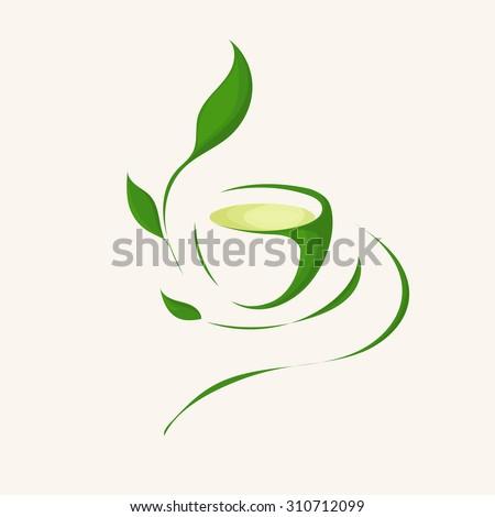Illustration of Herbal Green Tea. Tea Cup, tea leaves. Vector Image EPS 10. Flat minimalistic style.