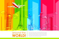 illustration of historic monument with airplane for around the world travel