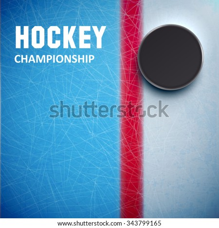 Illustration of Hockey puck isolated on ice top view