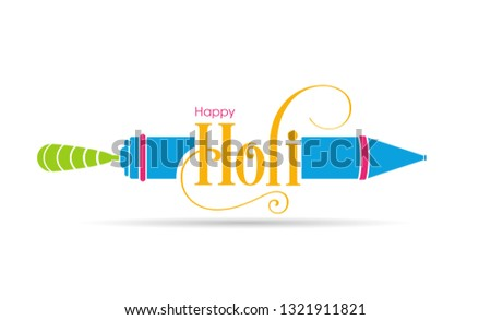 Illustration of Holi Festival with beautiful pichkari and colorful intricate calligraphy vector.