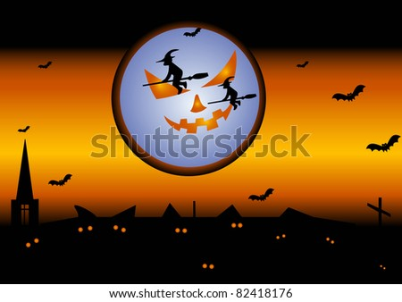 Illustration of holiday Halloween with the image of the terrible moon, witches on brooms, bats, the lock, roofs, a cross