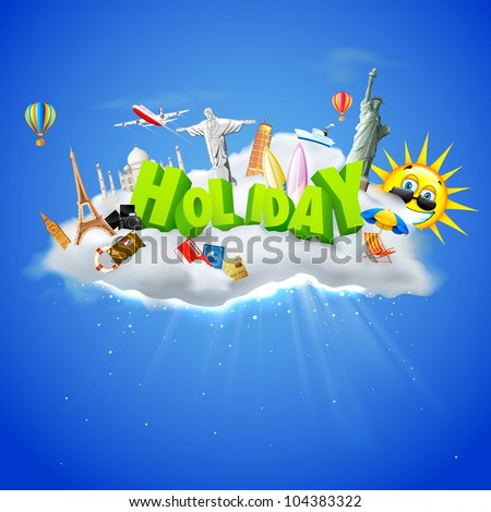 illustration of holiday text with travel object with famous monument on cloud