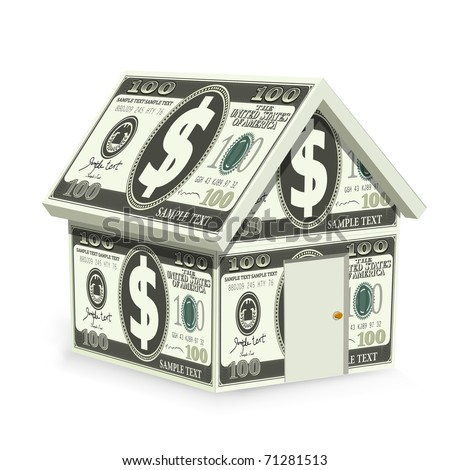 illustration of home made of dollar bill on isolated background