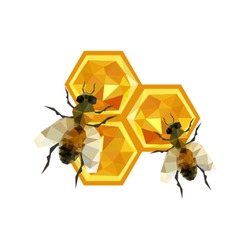 Illustration of honeycomb design with origami bees isolated on white background