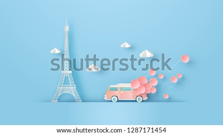 Illustration of honeymoon travel in Paris with van car on valentine's day and place for your text space. Eiffel tower Paris in Valentine's day. paper cut and craft style. vector, illustration.