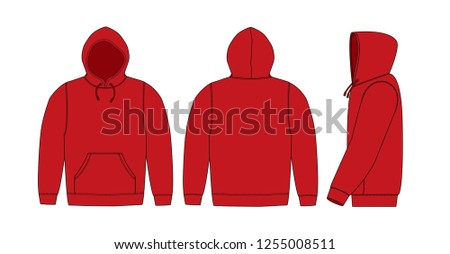 Illustration of hoodie (hooded sweatshirt) / red