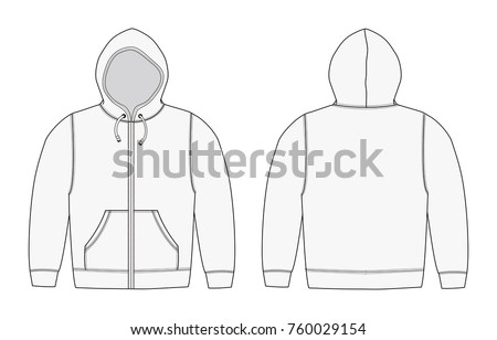 Illustration of hoodie (hooded sweatshirt) , zip up parka / white