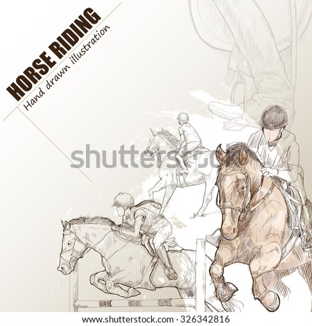 Illustration of horse riding. hand drawn. horse riding poster. Sport background.