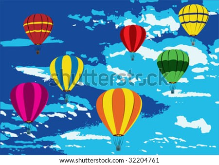 Illustration of hot air balloons on the air. Balloons are in pop art colors.