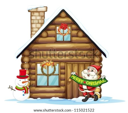 illustration of house and santa claus on a white background