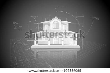 illustration of house model on blue print