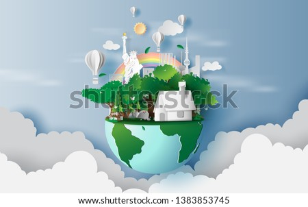 Stock Photo illustration of houses in green forest,Creative design world environment earth concept idea.Landscape Cityscape life in green nature plant area New York City. Paper cut and craft style.Balloon.vector
